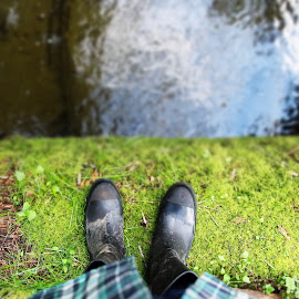 Don't Jump by Michael Nunes - Novices Only Objects & Still Life ( #outdoors, #boots, #greenery, #reflections, #water )