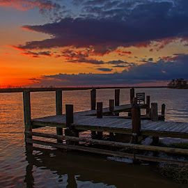 A Pier and a Sunset by Wendy  Walters - Buildings & Architecture Bridges & Suspended Structures ( east pearl river, louisiana marsh, mississippi gulf coast, pier, mississippi )