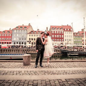by Eugen Chirita - People Couples ( copenhagen, lovers, nyhavn, buidings, atmosphere, brillup, attraction, love, bird, danmark, time, sky, she, couple, celebration, weedeng, bride, groom )
