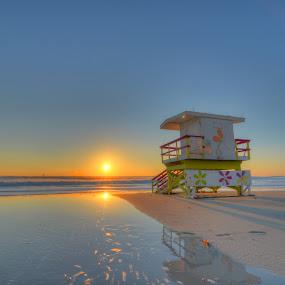 Sandy Shines by Edin Chavez - Landscapes Waterscapes ( miami beach, ocean, sunrise, sandy, hurricane )