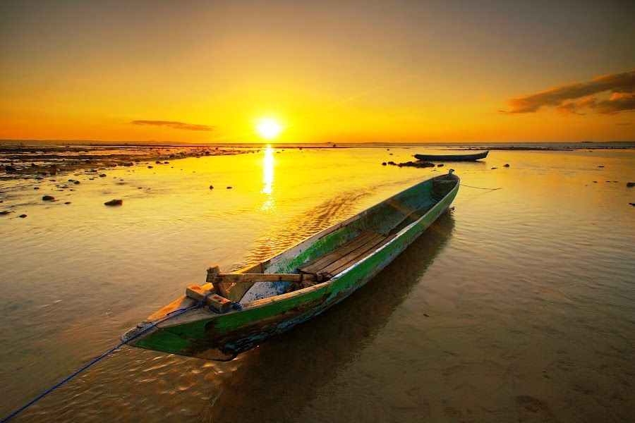 Sunset Boat by Aris Winahyu BR - Landscapes Waterscapes ( waterscape, sunset, boat )