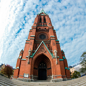Worshipping and Fish eyes by James Realmwalker Johansson - Buildings & Architecture Places of Worship ( clouds, church, fish, eye )
