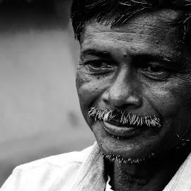 Pensive by Arijit Roy Chowdhury - People Portraits of Men ( black and white, pensive, old man, villager, candid, moustache, people, portrait, man )