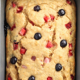 Whole Wheat Strawberry Blueberry Banana Bread