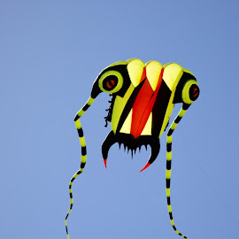 coming to eat you by Rachel Rachel - City,  Street & Park  Skylines ( sky, blue, kite, yellow, teeth, eyes,  )