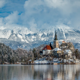 by Mario Horvat - Buildings & Architecture Public & Historical ( water, sneg, touristic, winter, slovenija, church, snow, slovenia, bled, lake, travel, jezero, island )
