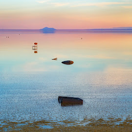 Flotsam at the Edge of the World by Vinod Kalathil - Digital Art Places ( bombay beach, california, salton sea, sunset, lake, landscape, surreal )