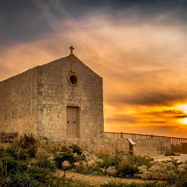 The Chapel by Mario Borg - Landscapes Sunsets & Sunrises ( clouds, cliffs, malta, sunset, chapel )