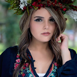 Beauty by Carole Brown - People Portraits of Women ( brown eyes, floral crown, gorgeous, ombre hair, embroidered top, outdoors )