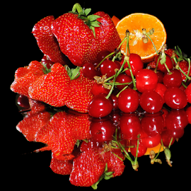 strawberry,orange with cherry by LADOCKi Elvira - Food & Drink Fruits & Vegetables