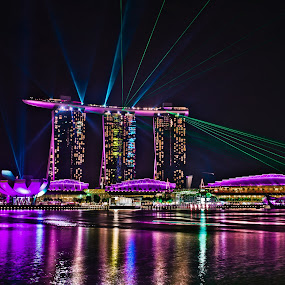 Lazer Show at MBS, Singapore by Kenny Lee - Landscapes Travel