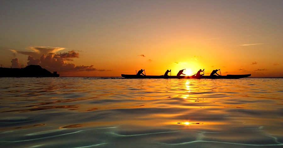 Guam Paddlers by Brandon Mardon - Landscapes Sunsets & Sunrises
