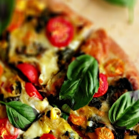 Swiss Chard & Corn Pizza with Cherry Tomatoes and Basil