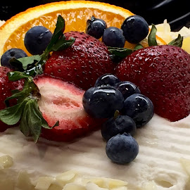Fresh Fruits on White Cake by Lope Piamonte Jr - Food & Drink Fruits & Vegetables