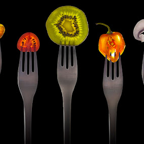 forked food  by Marianna Armata - Food & Drink Fruits & Vegetables ( mushroom, isolated, orange, fork, fruit, forked, tomato, pwcfruit, vegetables, on black, yummy, pepper, delicious, marianna armata, skewered, fresh, kiwi, close-cut, black,  )