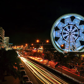 Ferris Wheel by Phlaire Nix - City,  Street & Park  Night ( light painting, night photography, night lights, light trails, long exposure, cityscape, city, nightscape, ferris wheel,  )