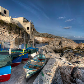 Għar Lapsi - Fishing Village on The Coast Of Malta by Dave Byford - Transportation Boats ( sky, fishing, malta, boats, clouds, gozo, water, colors, sea, coast, colour, seascape, coastal )