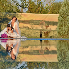 Wedding Day by Sorin Lazar Photography - Wedding Bride ( water, clouds, reflection, arrangement, marriad, nature, colors, wedding, bride )