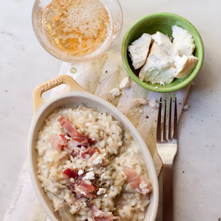 Beer And Artichoke Risotto With Crumbled Goat Cheese And Cured Ham