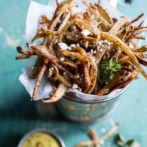 Greek Feta Fries with Roasted Garlic Saffron Aioli.