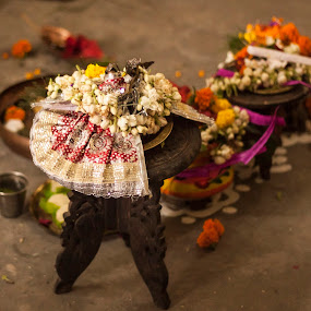God Narayan by Sudipta Mukhopadhyay - Novices Only Objects & Still Life ( god, dress, low light, table, flower )