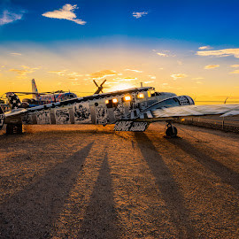 Vintage Art Plane by Ralph Resch - Transportation Airplanes ( vintage, sunset, art )