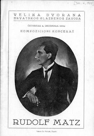 Matz continued his musical studies in Zagreb in his teen years.  By his early 20s, Matz was performing in several orchestras there, conducting a choir, and composing choral works.  This concert program from 1924 was for a solo cello concert.