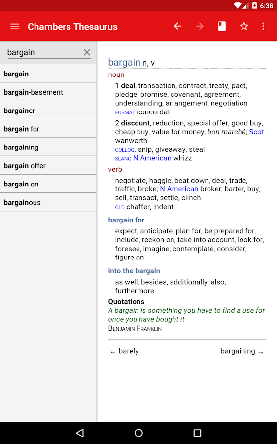 Chambers Thesaurus Screenshot 9