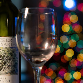 Christmas Cheer! by Danette Zak - Public Holidays Christmas ( wine, lights, texas wine, colored lights, wine glass, christmas lights, christmas, wine bottle, bottle )