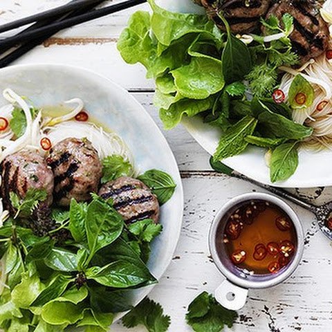 Rice noodles with Vietnamese pork patties