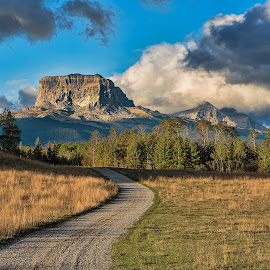 Chief Mountain by David Bair - Landscapes Mountains & Hills ( clouds, mountains, canada, colorful, scenic, road, landscape )