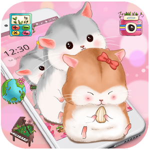Download Pink cute kawaii little hamster theme wallpaper For PC Windows and Mac