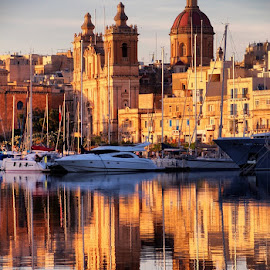 by Francis Xavier Camilleri - City,  Street & Park  Historic Districts ( reflection, birgu, church, malta, boats )