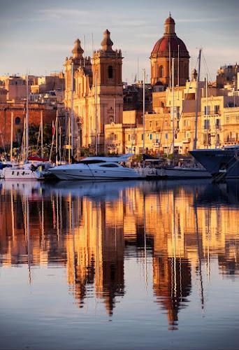 by Francis Xavier Camilleri - City,  Street & Park  Historic Districts ( reflection, birgu, church, malta, boats,  )