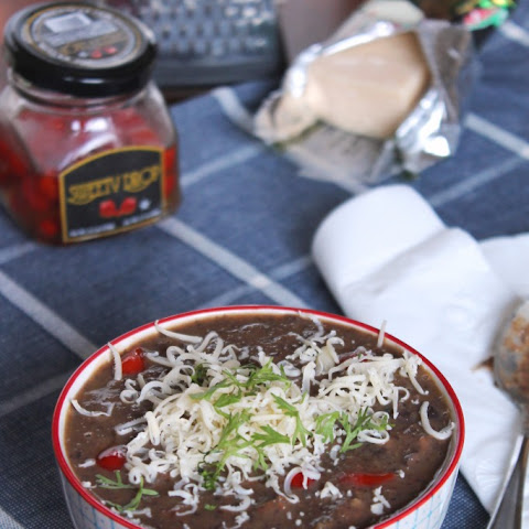 Black Bean & Chorizo Soup with Sweety Drops