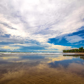 Cloud Reflections by Raymond Pauly - Landscapes Beaches ( beach photo, reflection, mirrored clouds, costa rica, beach life, esterillos oeste )