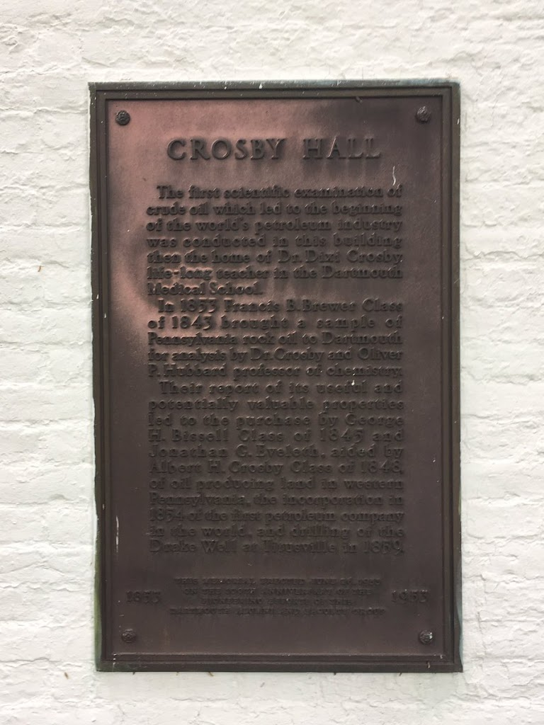 Crude oil experiments at Crosby Hall (@dartmouth ) helped lead to the early petroleum industry. Submitted by @LostToHistory