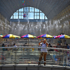Too Hot Inside. by Marcel Cintalan - Buildings & Architecture Other Interior ( hot air, supermarket, umbrellas, inside, moscow,  )