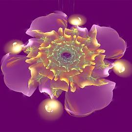 Flower 28 by Cassy 67 - Illustration Abstract & Patterns ( purple, abstract art, wallpaper, digital art, bubbles, flowers, fractal, digital, fractals, flower )