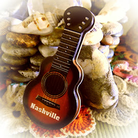 Nashville Guitar by Candace Penney - Artistic Objects Musical Instruments ( artistic objects, closeup, miniature, brown, guitar )