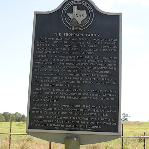 Dr. Samuel (1765-1843) and Precious Wofford (d. 1841) Thompson and their sons were among the earliest settlers of this area. Samuel Thompson served as alcalde of the San Augustine municipality and ...
