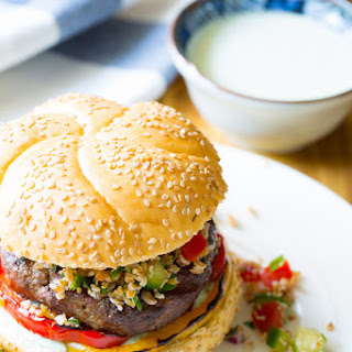 Lamb Burgers with Tabbouleh and Grilled Peppers