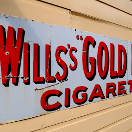 Wills's Gold Flake by DJ Cockburn - Artistic Objects Signs ( spa valley railway, england, cigarette, britain, sign, historical, heritage, history, wills's gold flake, advertising, planks, marketing, kent, uk, vintage, smoking, antique, tobacco, wall )