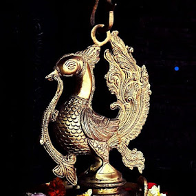 Traditional copper lamp with artistic peacock design by Rajashri Joshi - Artistic Objects Antiques ( lamp traditional copper artistic peacock light oil lamp design beautiful )