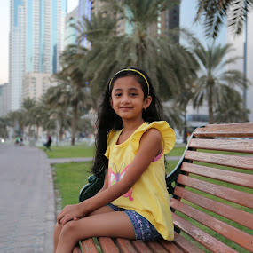 Bench at Buhaira by Manoj Ojha - Babies & Children Child Portraits ( khaled lagoon, uae, corniche, pwcbenches, baby, sharjah, buhaira )