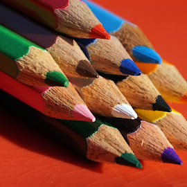 The tip of pencils. by Mihir Ranjan - Artistic Objects Still Life ( color pencils, close-up of pencils, poin of pencil, pencils, the tip of color pencils. )
