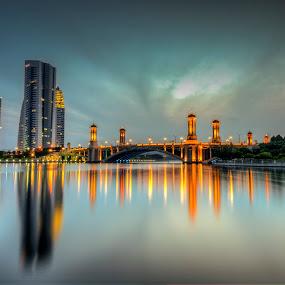 Sunrise @ Putrajaya (Jambatan Seri Gemilang) by Zack Zaidi - Landscapes Sunsets & Sunrises ( water, putrajaya, malaysia, bridge, sunrise )