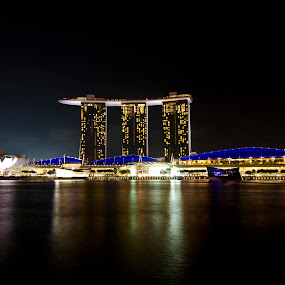 Marina Bay Sands Hotel by Jashper Delloroso - Buildings & Architecture Office Buildings & Hotels ( long exposure photography, mbs, marina bay sands, night, light, sg, singapore, lights,  )