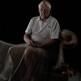 The Fisherman by Dean McEwan - People Portraits of Men ( old, queensland, australia, nets, nikon, fisherman, portrait )