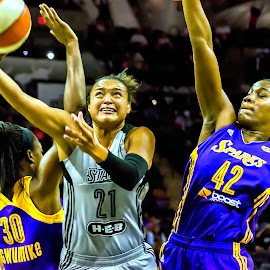 Driving The Lane by Paul Frese - Sports & Fitness Basketball ( basketball, stars, sports, san antonio, tough, los angeles, sparks, professional, women )